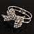 Silver Tone Crystal Bow Hinged Bangle Bracelet - view 10