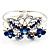 Swarovski Crystal Butterfly Hinged Bangle Bracelet (Silver&Blue)