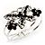 Swarovski Crystal Butterfly Hinged Bangle Bracelet (Silver&Jet Black) - view 2