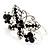Swarovski Crystal Butterfly Hinged Bangle Bracelet (Silver&Jet Black) - view 3