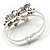 Swarovski Crystal Butterfly Hinged Bangle Bracelet (Silver&Jet Black) - view 4