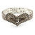 Dazzling Swarovski Crystal Heart Flex Bangle Bracelet (Silver Tone) - view 7