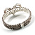 Dazzling Swarovski Crystal Heart Flex Bangle Bracelet (Silver Tone) - view 6