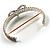 Dazzling Swarovski Crystal Heart Flex Bangle Bracelet (Silver Tone) - view 5