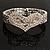 Dazzling Swarovski Crystal Heart Flex Bangle Bracelet (Silver Tone) - view 2