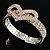 Dazzling Swarovski Crystal Heart Flex Bangle Bracelet (Silver Tone) - view 3