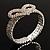 Dazzling Swarovski Crystal Heart Flex Bangle Bracelet (Silver Tone) - view 10