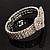 Dazzling Swarovski Crystal Heart Flex Bangle Bracelet (Silver Tone) - view 8