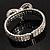 Dazzling Swarovski Crystal Heart Flex Bangle Bracelet (Silver Tone) - view 11