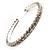 Clear Crystal Thin Flex Bangle Bracelet (Silver Tone) - view 5