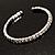 Clear Crystal Thin Flex Bangle Bracelet (Silver Tone) - view 7
