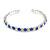 Clear&Blue Crystal Thin Flex Bangle Bracelet (Silver Tone) - view 2