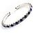 Clear&Blue Crystal Thin Flex Bangle Bracelet (Silver Tone) - view 3