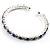 Clear&Blue Crystal Thin Flex Bangle Bracelet (Silver Tone) - view 6