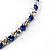 Clear&Blue Crystal Thin Flex Bangle Bracelet (Silver Tone) - view 4