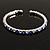Clear&Blue Crystal Thin Flex Bangle Bracelet (Silver Tone) - view 7