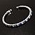 Clear&Blue Crystal Thin Flex Bangle Bracelet (Silver Tone) - view 8