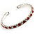 Clear&Red Crystal Thin Flex Bangle Bracelet (Silver Tone)