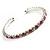 Clear&Pink Crystal Thin Flex Bangle Bracelet (Silver Tone)