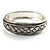 Vintage Braided Hinged Bangle Bracelet (Antique Silver Tone) - view 1