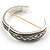 Vintage Braided Hinged Bangle Bracelet (Antique Silver Tone) - view 3