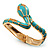 Gold Tone Enamel Crystal Snake Bangle Bracelet (Aqua)