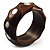 Twisted Chunky Wood Bangle with Shell Inlay (Brown) - Medium - up to 18cm