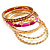 Set Of 5 Pcs Metal Gold Bangles (Pink Enamel)