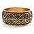 Wide Burnished Gold Plated Ethnic Bangle Bracelet - 33mm Width (Hinged) - view 9