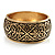 Wide Burnished Gold Plated Ethnic Bangle Bracelet - 33mm Width (Hinged) - view 10