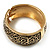 Wide Burnished Gold Plated Ethnic Bangle Bracelet - 33mm Width (Hinged) - view 11