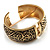 Wide Burnished Gold Plated Ethnic Bangle Bracelet - 33mm Width (Hinged) - view 8