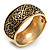 Wide Burnished Gold Plated Ethnic Bangle Bracelet - 33mm Width (Hinged) - view 4