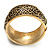 Wide Burnished Gold Plated Ethnic Bangle Bracelet - 33mm Width (Hinged) - view 7