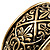 Wide Burnished Gold Plated Ethnic Bangle Bracelet - 33mm Width (Hinged) - view 6
