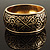 Wide Burnished Gold Plated Ethnic Bangle Bracelet - 33mm Width (Hinged) - view 2