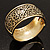Wide Burnished Gold Plated Ethnic Bangle Bracelet - 33mm Width (Hinged) - view 3