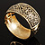 Wide Burnished Gold Plated Ethnic Bangle Bracelet - 33mm Width (Hinged) - view 5
