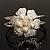 Bridal Imitation Pearl Floral Hinged Bangle Bracelet (Silver Tone) - view 2