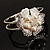 Bridal Imitation Pearl Floral Hinged Bangle Bracelet (Silver Tone) - view 6