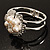 Bridal Imitation Pearl Floral Hinged Bangle Bracelet (Silver Tone) - view 10