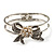 Prom Crystal Simulated Pearl Bow Hinged Bangle Bracelet (Silver Tone)