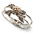 Prom Crystal Simulated Pearl Bow Hinged Bangle Bracelet (Silver Tone) - view 4