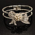 Prom Crystal Simulated Pearl Bow Hinged Bangle Bracelet (Silver Tone) - view 2