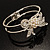 Prom Crystal Simulated Pearl Bow Hinged Bangle Bracelet (Silver Tone) - view 5