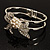 Prom Crystal Simulated Pearl Bow Hinged Bangle Bracelet (Silver Tone) - view 6
