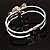 Prom Crystal Simulated Pearl Bow Hinged Bangle Bracelet (Silver Tone) - view 7