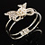 Prom Crystal Simulated Pearl Bow Hinged Bangle Bracelet (Silver Tone) - view 8