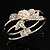 Prom Crystal Simulated Pearl Bow Hinged Bangle Bracelet (Silver Tone) - view 9