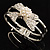 Prom Crystal Simulated Pearl Bow Hinged Bangle Bracelet (Silver Tone) - view 10